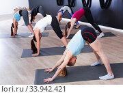 Group of females exercising during yoga class at gym. Стоковое фото, фотограф Яков Филимонов / Фотобанк Лори