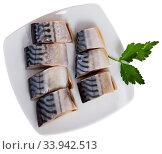 Sliced marinated mackerel. Стоковое фото, фотограф Яков Филимонов / Фотобанк Лори