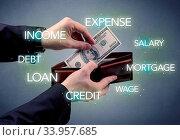 Купить «Businessman's hand takes out dollar from wallet with bank keywording wallpaper», фото № 33957685, снято 11 июля 2020 г. (c) easy Fotostock / Фотобанк Лори