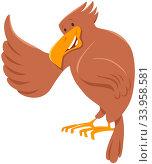 Cartoon Illustration of Eagle Bird Funny Wild Animal Character. Стоковое фото, фотограф Zoonar.com/Igor Zakowski / easy Fotostock / Фотобанк Лори