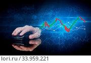 Купить «Hand using wireless mouse with statistical concept on dark background», фото № 33959221, снято 5 августа 2020 г. (c) easy Fotostock / Фотобанк Лори