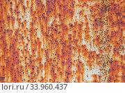 Купить «Rusty metal wall background with streaks of rust.», фото № 33960437, снято 8 мая 2017 г. (c) Nataliia Zhekova / Фотобанк Лори