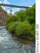 Bridge in Jermuk city, view of the river at the waterfall, Armenia. Стоковое фото, фотограф Константин Лабунский / Фотобанк Лори