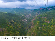 View of the picturesque mountains of Armenia and the gorge from the cableway near the Tatev Monastery. Стоковое фото, фотограф Константин Лабунский / Фотобанк Лори