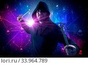 Armed burglar in dark secured database network cloud and report concept. Стоковое фото, фотограф Zoonar.com/rancz / easy Fotostock / Фотобанк Лори