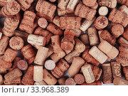 Купить «Close-up of group of wine corks», фото № 33968389, снято 29 января 2016 г. (c) Nataliia Zhekova / Фотобанк Лори