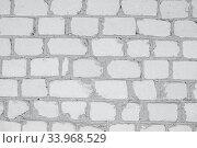 Купить «White grunge brick wall background», фото № 33968529, снято 8 мая 2017 г. (c) Nataliia Zhekova / Фотобанк Лори