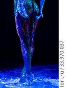 Woman legs with ultraviolet color pattern bodyart view. Стоковое фото, фотограф Гурьянов Андрей / Фотобанк Лори
