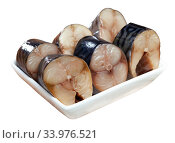 Slices of lightly salted mackerel with greens at plate. Стоковое фото, фотограф Яков Филимонов / Фотобанк Лори