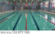 Купить «Детский плавательный бассейн на четыре дорожки, занятия по плаванию у детей», видеоролик № 33977165, снято 19 мая 2020 г. (c) Кекяляйнен Андрей / Фотобанк Лори
