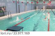 Занятия по плаванию в бассейне, секция спортивного плавания. Редакционное видео, видеограф Кекяляйнен Андрей / Фотобанк Лори