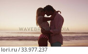 Купить «Caucasian couple enjoying time at the beach during the sunset», видеоролик № 33977237, снято 25 февраля 2020 г. (c) Wavebreak Media / Фотобанк Лори
