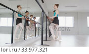 Caucasian ballet female dancers exercising together with a barre by a mirror during a ballet class. Стоковое видео, агентство Wavebreak Media / Фотобанк Лори
