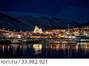 Tromso Harbour and Arctic Cathedral at night, Norway. Стоковое фото, фотограф Zoonar.com/Pawel Opaska / easy Fotostock / Фотобанк Лори