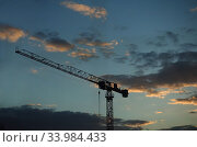 Купить «Berlin, Germany, construction crane in the evening», фото № 33984433, снято 19 марта 2019 г. (c) Caro Photoagency / Фотобанк Лори
