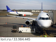 Berlin, Germany, Boeing 737 of SAS Airlines and A321 of Lufthansa on the apron of Berlin-Tegel Airport (2019 год). Редакционное фото, агентство Caro Photoagency / Фотобанк Лори