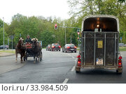 Купить «Hoppegarten, Germany, Horse-drawn carriage passes a horse trailer on a road», фото № 33984509, снято 11 мая 2019 г. (c) Caro Photoagency / Фотобанк Лори