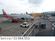 Schoenefeld, Germany, Airbus A319 of the airline Rossiya on the apron of the airport Berlin-Schoenefeld (2019 год). Редакционное фото, агентство Caro Photoagency / Фотобанк Лори