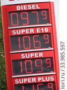 Berlin, Germany: Fuel prices during the Corona Pandemic. Редакционное фото, агентство Caro Photoagency / Фотобанк Лори