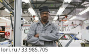 African American male car mechanic crossing his arms and looking at camera. Стоковое видео, агентство Wavebreak Media / Фотобанк Лори
