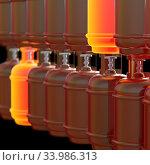 Купить «Propane gas cylinders isolated on a black background. 3d illustration.», фото № 33986313, снято 14 июля 2020 г. (c) age Fotostock / Фотобанк Лори