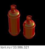 Купить «Propane gas cylinder isolated on a black background. 3d illustration.», фото № 33986321, снято 14 июля 2020 г. (c) age Fotostock / Фотобанк Лори