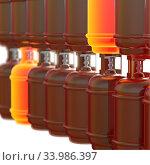 Купить «Propane gas cylinders isolated on a white background. 3d illustration.», фото № 33986397, снято 14 июля 2020 г. (c) age Fotostock / Фотобанк Лори