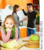 Купить «Girl suffering from parents conflicts», фото № 33992701, снято 6 июля 2020 г. (c) Яков Филимонов / Фотобанк Лори