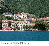 Купить «View of the typical town in Kotor Bay, Montenegro», фото № 33993569, снято 10 июня 2019 г. (c) Володина Ольга / Фотобанк Лори