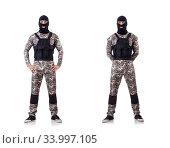 Купить «Soldier in camouflage isolated on white», фото № 33997105, снято 11 июня 2013 г. (c) Elnur / Фотобанк Лори