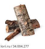 Купить «Two poplar logs isolated on white background», фото № 34004277, снято 6 июля 2020 г. (c) easy Fotostock / Фотобанк Лори