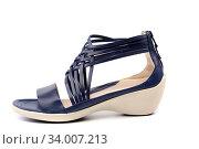 Купить «Women's shoes on a white background. For summer.», фото № 34007213, снято 3 июля 2020 г. (c) age Fotostock / Фотобанк Лори