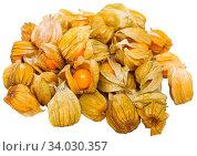Купить «Ripe Peruvian physalis fruits isolated on white», фото № 34030357, снято 6 июля 2020 г. (c) Яков Филимонов / Фотобанк Лори