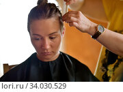 Купить «Women's haircut at home», фото № 34030529, снято 13 июня 2020 г. (c) Знаменский Олег / Фотобанк Лори