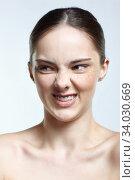 Headshot of emotional female face portrait with rage facial expression. Стоковое фото, фотограф Serg Zastavkin / Фотобанк Лори