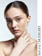 Купить «Girl with sore throat pain; on white background.», фото № 34030681, снято 8 мая 2020 г. (c) Serg Zastavkin / Фотобанк Лори