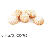 Купить «Shortbread cookies of different shapes with stuffing and without isolated on white», фото № 34030785, снято 22 мая 2018 г. (c) Nataliia Zhekova / Фотобанк Лори