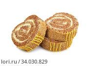 Купить «Slices of sweet roll cake isolated on white background», фото № 34030829, снято 18 января 2016 г. (c) Nataliia Zhekova / Фотобанк Лори