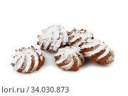 Купить «shortbread cookies isolated on white background», фото № 34030873, снято 4 февраля 2016 г. (c) Nataliia Zhekova / Фотобанк Лори