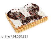 Купить «Condensed milk and Chocolate cake decorated with cream flowers isolated on white», фото № 34030881, снято 6 апреля 2017 г. (c) Nataliia Zhekova / Фотобанк Лори