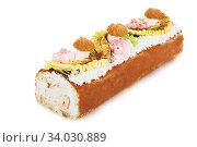 biscuit Swiss roll isolated on white. Стоковое фото, фотограф Nataliia Zhekova / Фотобанк Лори