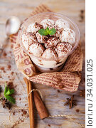 Купить «Classic tiramisu in a glass cup decorated with cocoa powder», фото № 34031025, снято 20 марта 2019 г. (c) Nataliia Zhekova / Фотобанк Лори