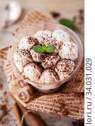 Купить «Classic tiramisu in a glass cup decorated with cocoa powder», фото № 34031029, снято 20 марта 2019 г. (c) Nataliia Zhekova / Фотобанк Лори