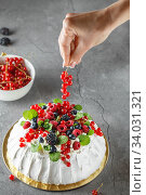 Купить «Pavlova cake with cream and fresh summer berries. Close up of Pavlova dessert with forest fruit and mint. Food photography. The process of decorating the cake with red currant berries.», фото № 34031321, снято 31 июля 2019 г. (c) Nataliia Zhekova / Фотобанк Лори