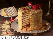 Homemade honey cake decorated with pomegranate berries and mint leaves. Стоковое фото, фотограф Nataliia Zhekova / Фотобанк Лори