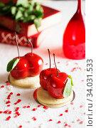 Купить «Mousse dessert in the shape of a cherries.», фото № 34031533, снято 4 февраля 2019 г. (c) Nataliia Zhekova / Фотобанк Лори