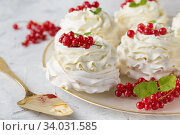Pavlova cakes with cream and fresh summer berries. Close up of Pavlova dessert with forest fruit and mint. Food photo. Стоковое фото, фотограф Nataliia Zhekova / Фотобанк Лори
