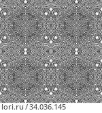 Купить «Vector black monochrome hand drawn zentangle seamless aztec pattern outline illustration on white background», фото № 34036145, снято 4 июля 2020 г. (c) easy Fotostock / Фотобанк Лори