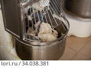 Купить «Kneading machine preparing dough», фото № 34038381, снято 10 июля 2020 г. (c) Яков Филимонов / Фотобанк Лори