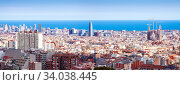 view of Barcelona in sunny day, Стоковое фото, фотограф Яков Филимонов / Фотобанк Лори